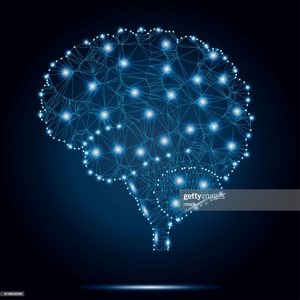 Shares of the brain, polygon, dots, stars 2-4