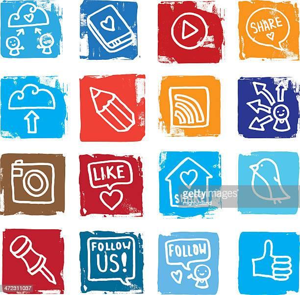 Partage de médias sociaux grunge rue Ensemble d'icônes
