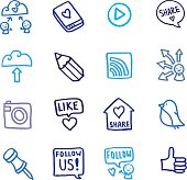 Sharing and social networking doodle icon set