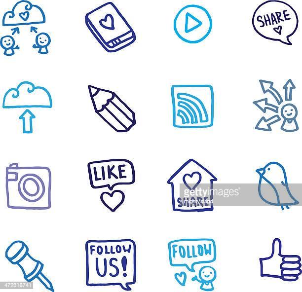illustrazioni stock, clip art, cartoni animati e icone di tendenza di condivisione e sociali doodle set di icone di rete - amicizia