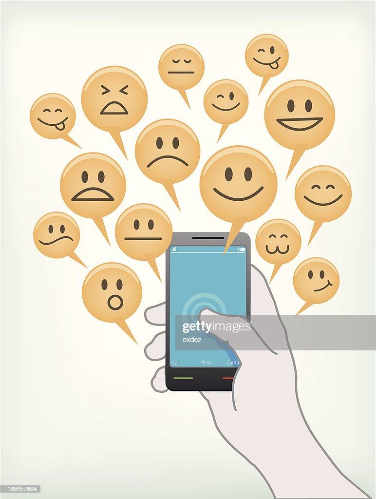 sharing emotion on mobile : Vector Art