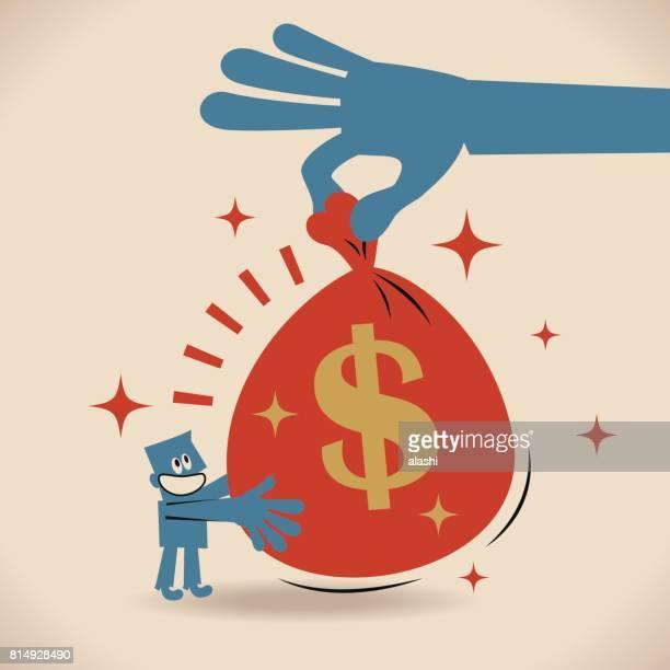 ilustrações, clipart, desenhos animados e ícones de compartilhando o tesouro, dando um grande saco de dinheiro com cifrão para um homem de negócios de palmas - incentive
