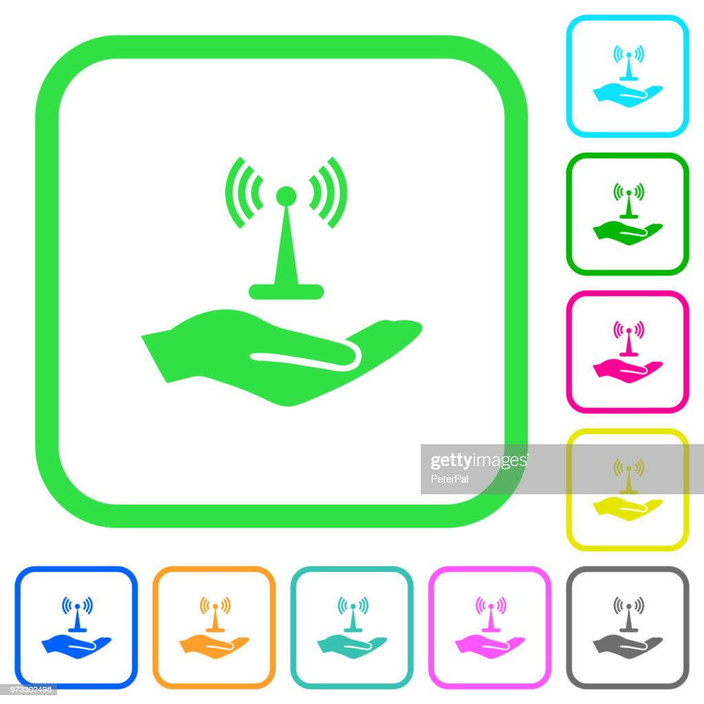 Sharing wireless network vivid colored flat icons