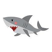 Shark animal cartoon character vector illustration.