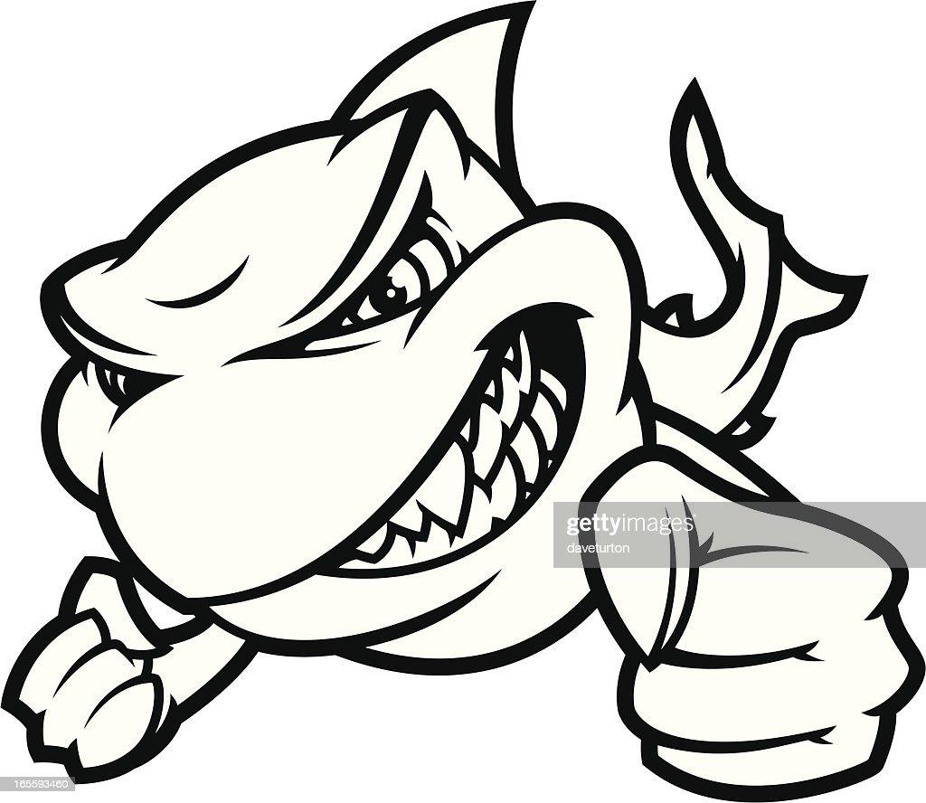 Shark Attack II B&W : stock illustration