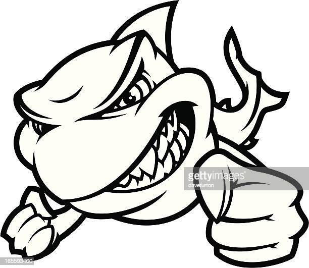 shark attack ii b&w - fighting stance stock illustrations, clip art, cartoons, & icons