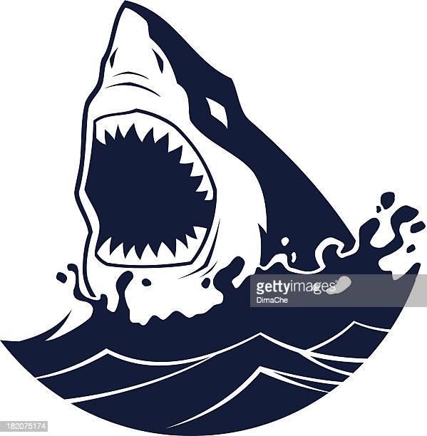 illustrations, cliparts, dessins animés et icônes de attaque de requin - requin