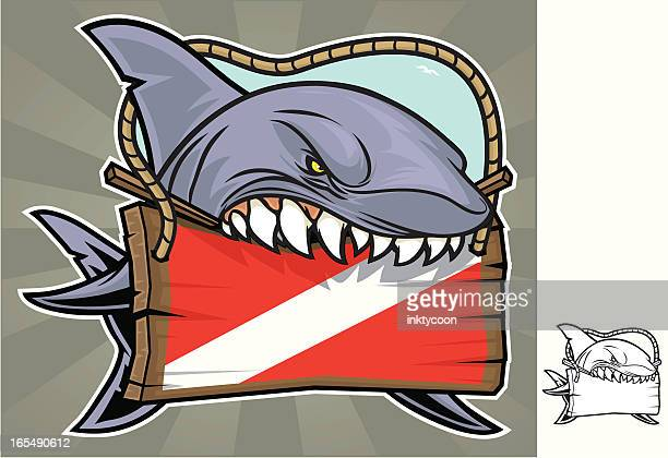 Shark Biting Sign, illustration