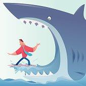 shark eating surfer businessman