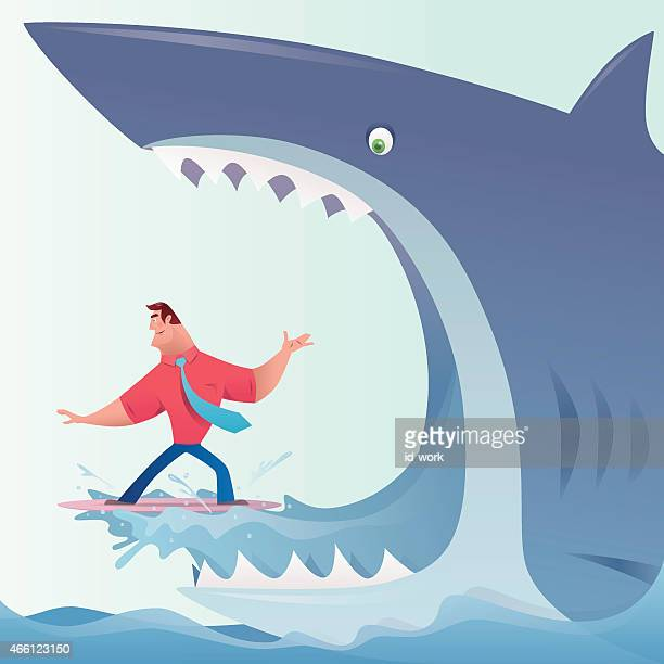 shark eating surfer businessman - head above water stock illustrations