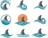 shark fin icon set