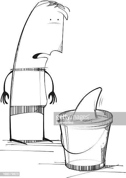 shark infested bucket - infestation stock illustrations, clip art, cartoons, & icons