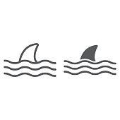 Shark line and glyph icon, animal and underwater, aquatic sign vector graphics, a linear pattern on a white background, eps 10.