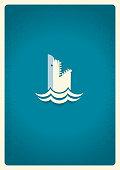 Shark logo.Vector blue symbol illustration