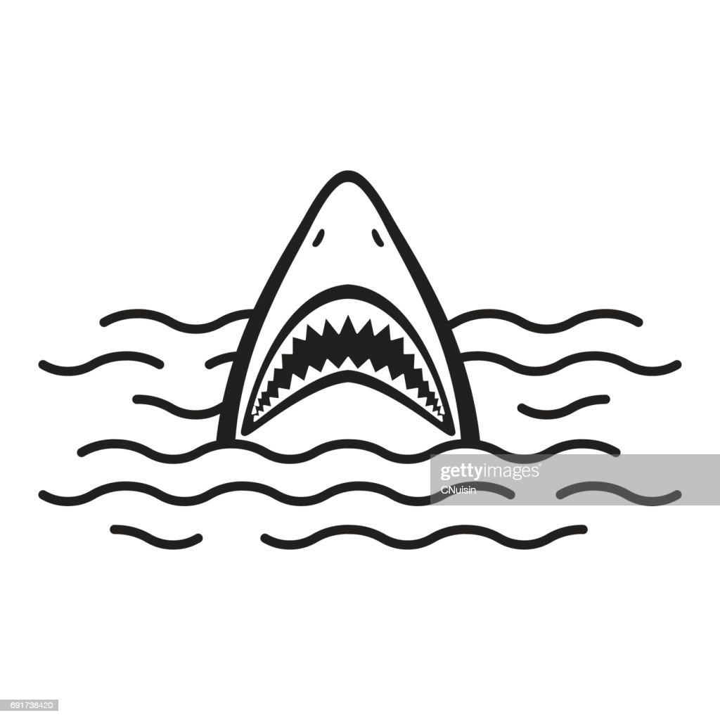 Shark open mouth Ocean Sea vector illustration