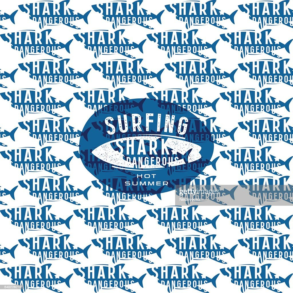 Shark seamless pattern and surfing emblem