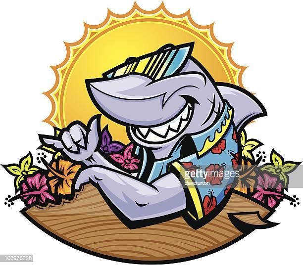 illustrations, cliparts, dessins animés et icônes de requin planche de surf - requin