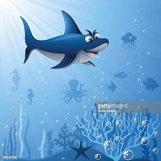 ilustrações, clipart, desenhos animados e ícones de shark debaixo d'água - organismo aquático