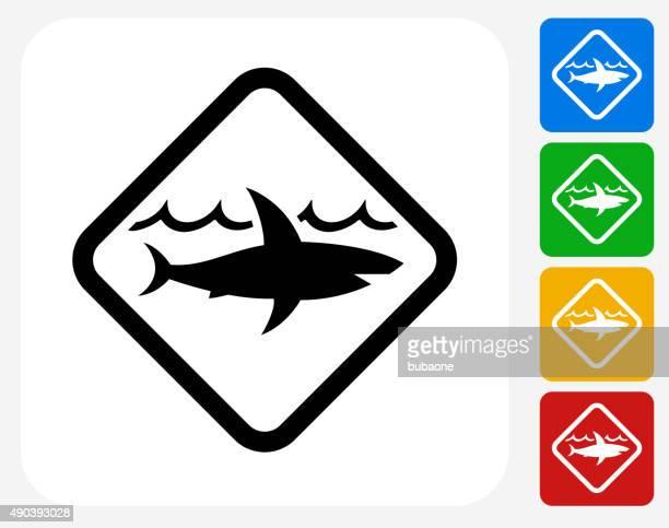 Sinal de Tubarão ícone Flat Design gráfico