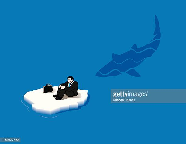 shark-infested business waters - ice floe stock illustrations
