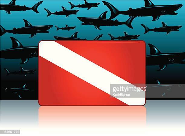 sharks and no diving symbol - infestation stock illustrations, clip art, cartoons, & icons
