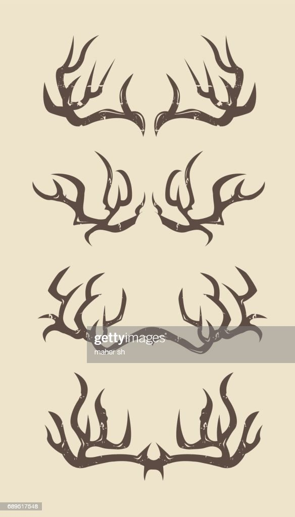 Sharp deer antlers illustration