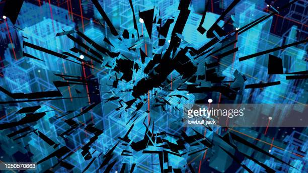 shattered holographic city map. shattered american city. blue neon silhouette city. digital cityscape background. business technology concept. vector stock illustration. - violence stock illustrations