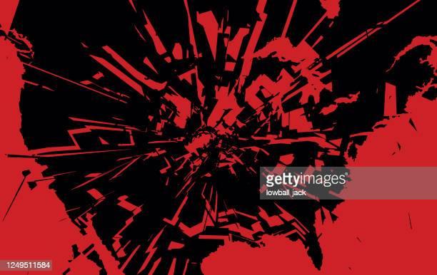 アメリカの粉々になった地図。アメリカ社会を打ち砕いた。黒人の命は重要です。ベクトルストックのイラスト - 活動家点のイラスト素材/クリップアート素材/マンガ素材/アイコン素材