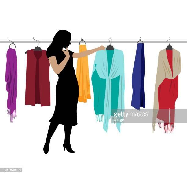 shawl shopping - shawl stock illustrations