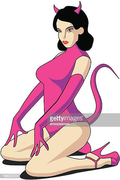 she devil hot female vector - sexual fetish stock illustrations, clip art, cartoons, & icons