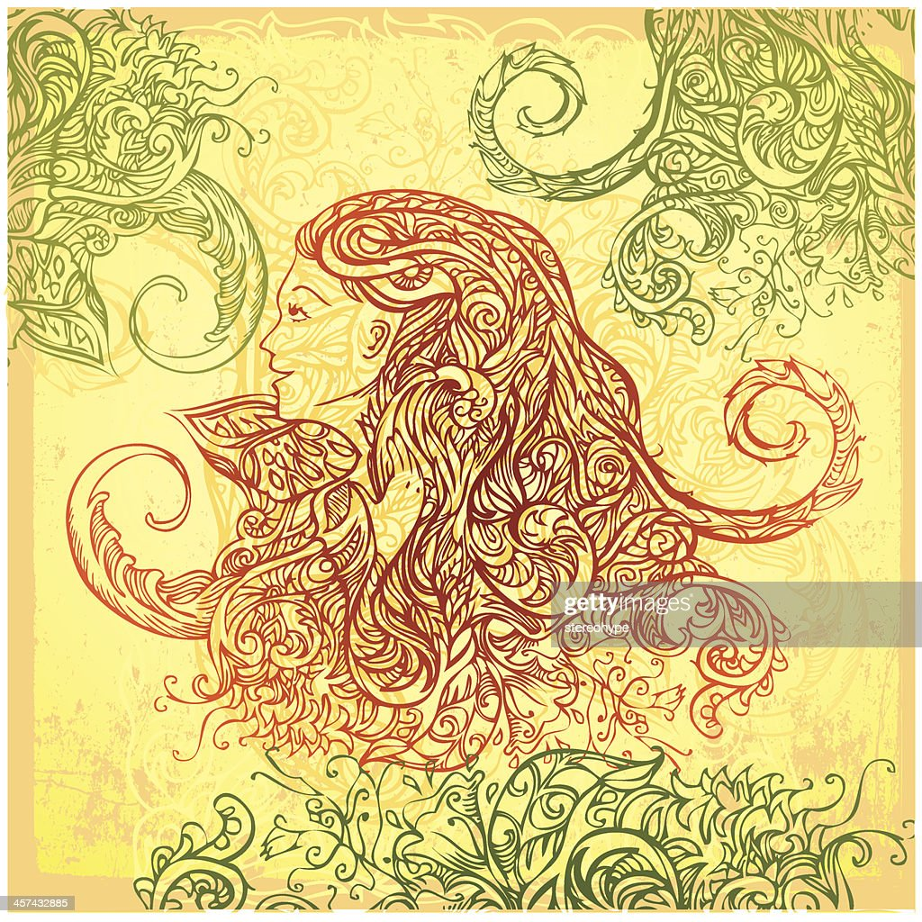 she is of the forest : stock illustration