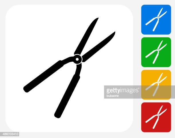 shears icon flat graphic design - pruning shears stock illustrations, clip art, cartoons, & icons
