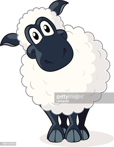 sheep cartoon - sheep stock illustrations, clip art, cartoons, & icons
