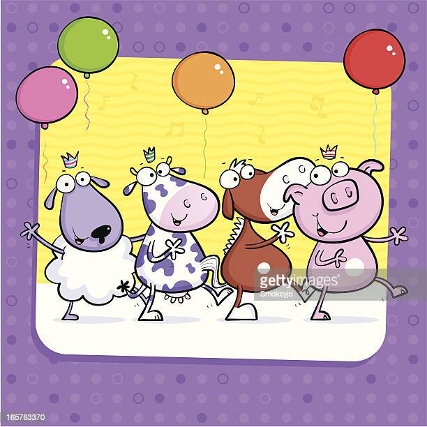 sheep cow horse pig - conga dancing stock illustrations, clip art, cartoons, & icons