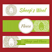 Sheep Fool and Fleece Concept Hand Drawn Style Vector Banners