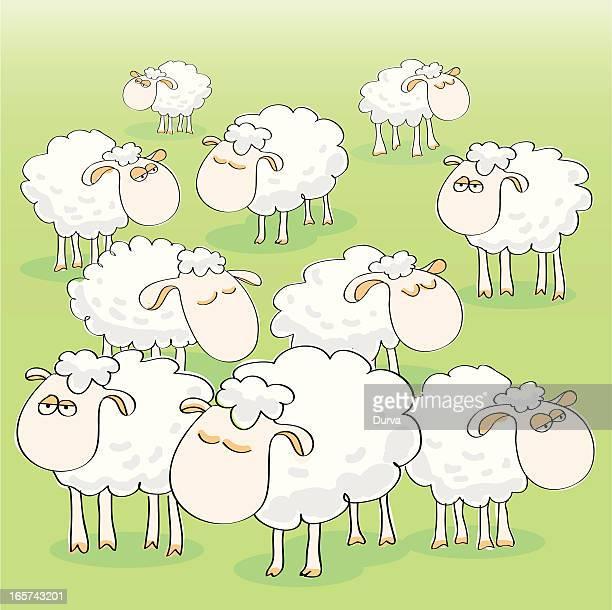 sheep group - sheep stock illustrations, clip art, cartoons, & icons