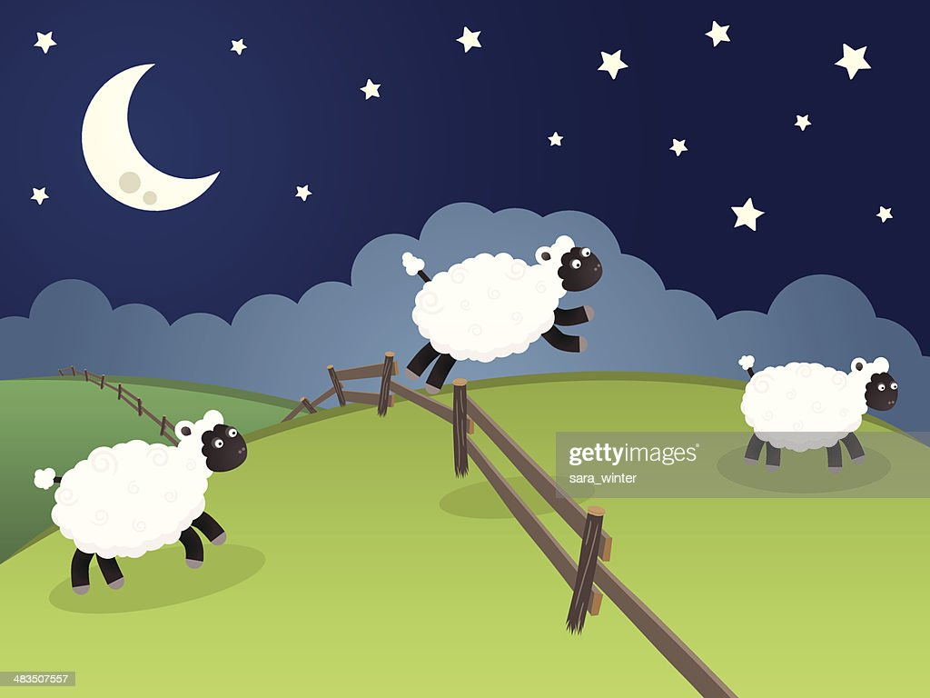 Sheep jumping over a fence in a rolling night landscape