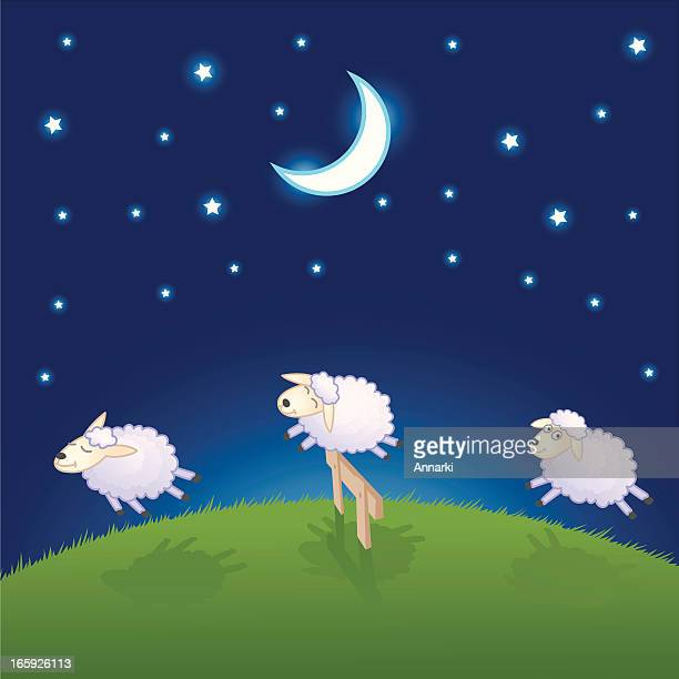 sheep jumping over the fence - sheep stock illustrations, clip art, cartoons, & icons