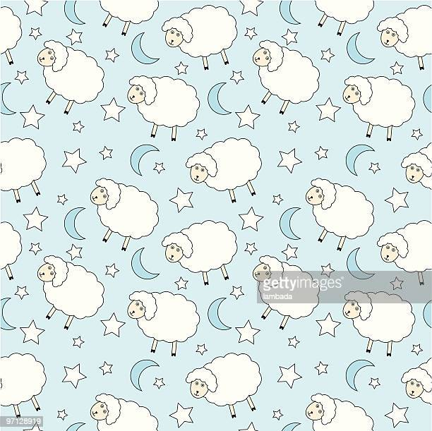 sheep seamless background - sheep stock illustrations, clip art, cartoons, & icons