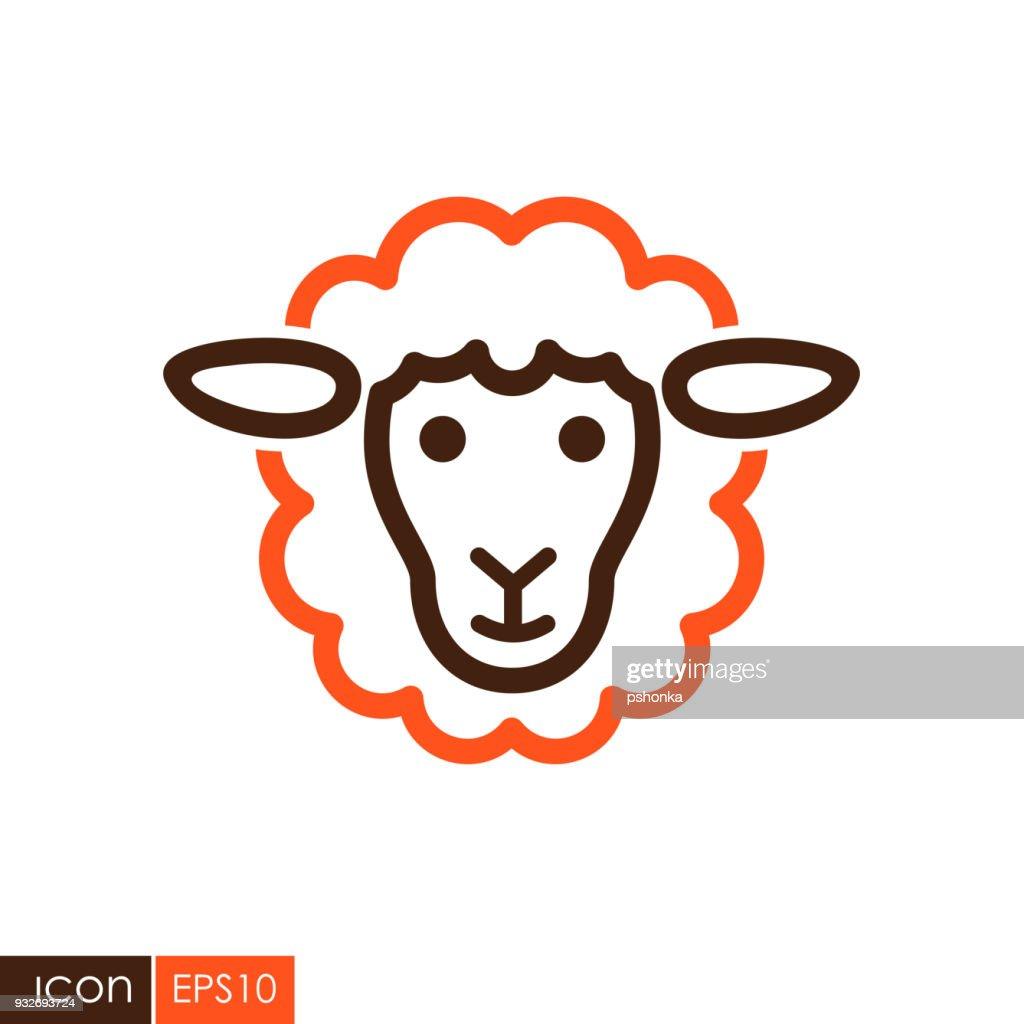 Sheep vector icon. Animal head