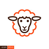 Sheep vector icon. Animal head