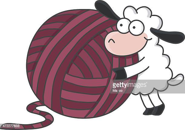 sheep with a ball of wool