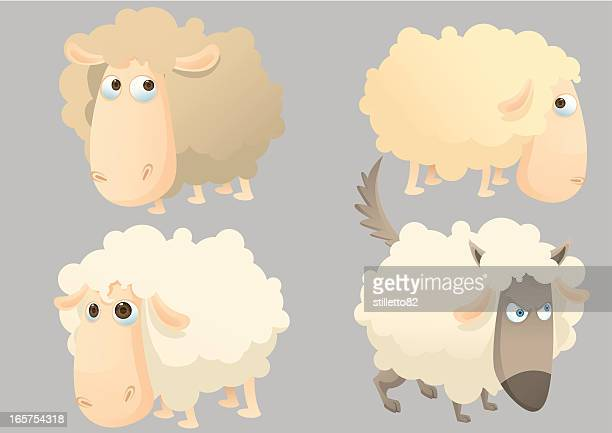 sheeps - sheep stock illustrations, clip art, cartoons, & icons