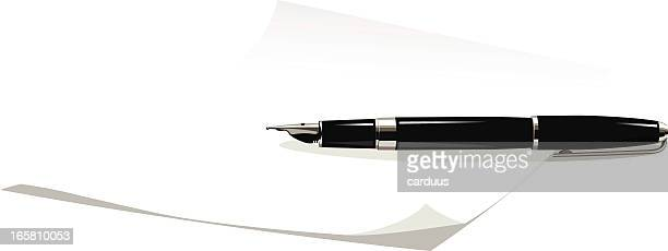 sheet of paper and fountain pen - ballpoint pen stock illustrations, clip art, cartoons, & icons