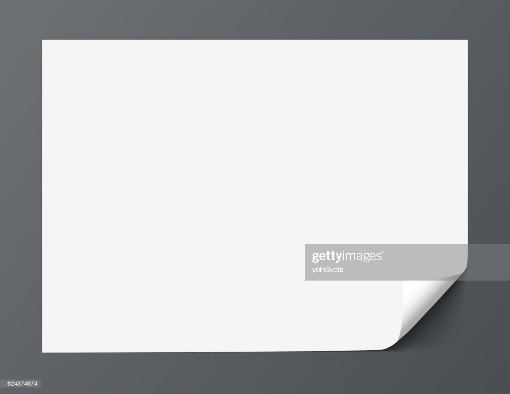 Sheet of paper with curl corner isolated on dark background