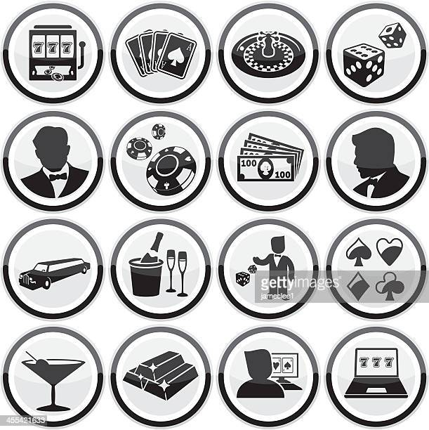 sheet of small casino icons cleverly round like poker chips - ice bucket stock illustrations, clip art, cartoons, & icons