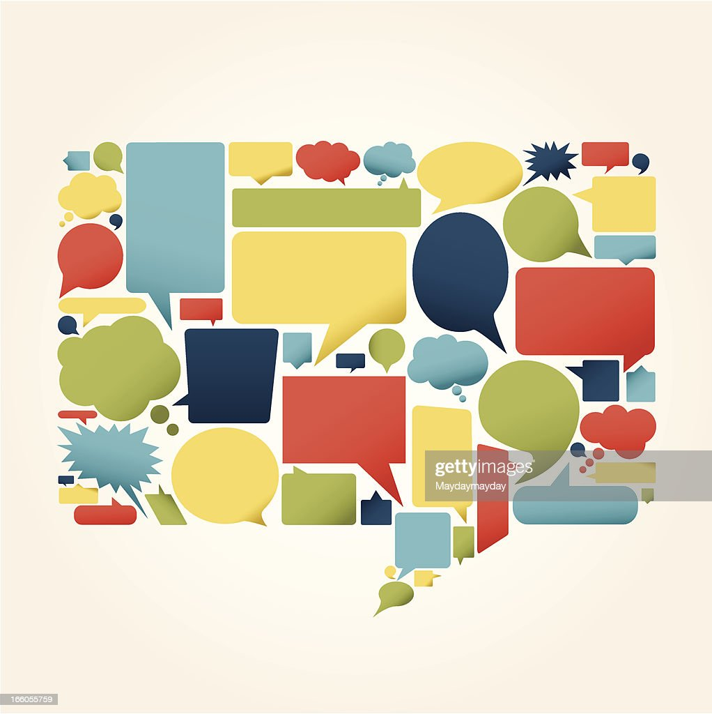 Sheet of various shaped and multicolored speech bubbles : stock illustration
