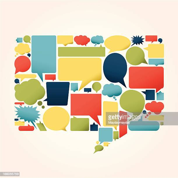 sheet of various shaped and multicolored speech bubbles - thought bubble stock illustrations
