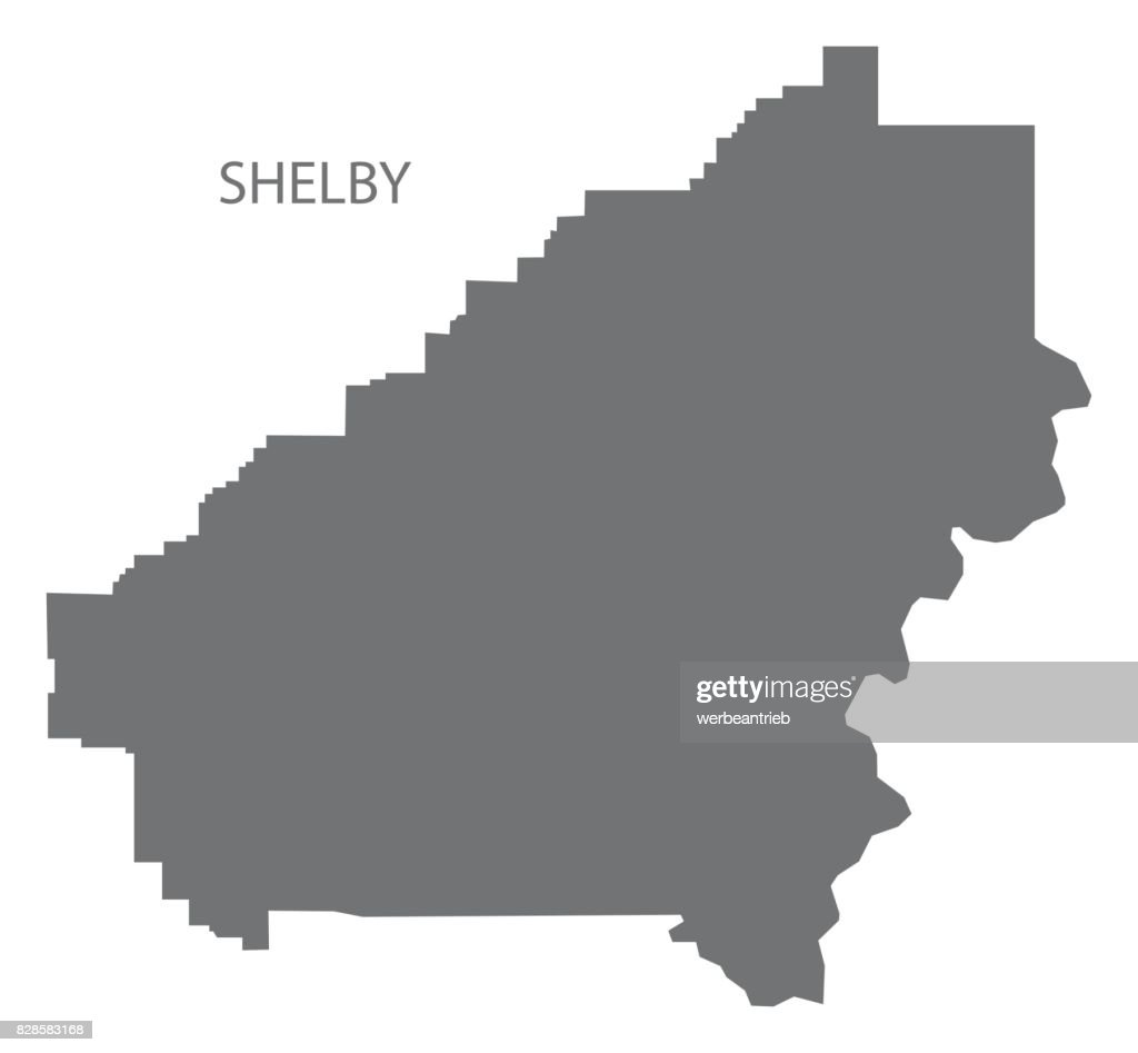 Shelby county map of Alabama USA grey illustration silhouette