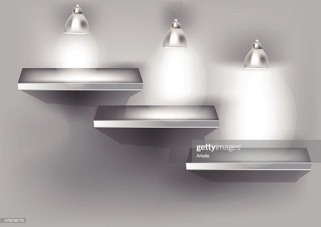 shelf illuminated by lamps